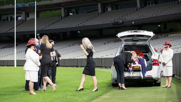 Dean Jones is farewelled at an MCG funeral ceremony.