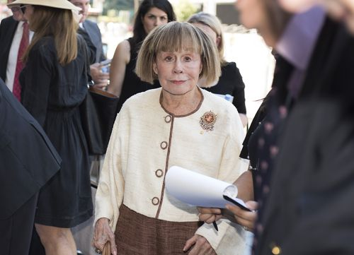 Jeanne Pratt arrives for the state funeral service for Ron Walker. (AAP)