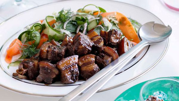 Kylie Kwong: Caramelised pork belly with Chinese coleslaw