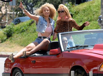 Iggy Azalea and Britney Spears are seen on set of their music video on April 09, 2015 in Los Angeles, California.