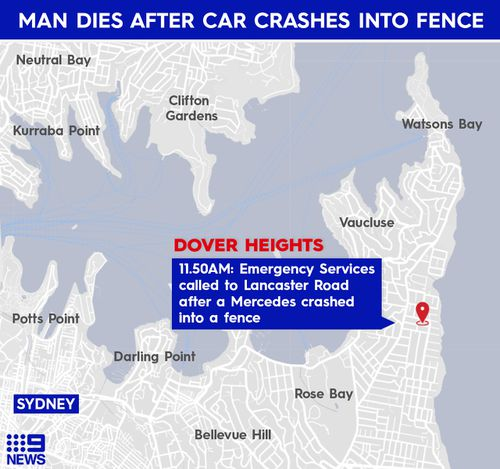 A man, aged 101, has died after his car crashed through a fence in Dover Heights.