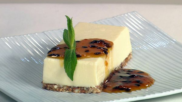 Goats curd cheese cake with passionfruit sauce
