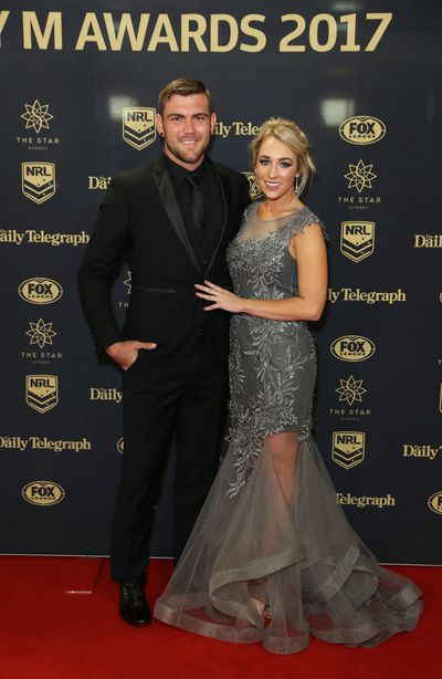 Kyle Feldt of the Cowboys with partner Deanna Finn