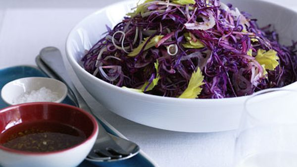Red cabbage, apple and celery salad