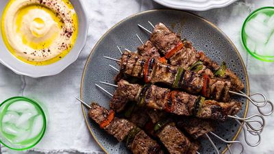 """Recipe: <a href=""""http://kitchen.nine.com.au/2017/10/16/12/28/the-lebanese-plates-not-just-a-beef-skewer"""" target=""""_top"""">The Lebanese Plate's 'not just' a beef skewer</a>"""