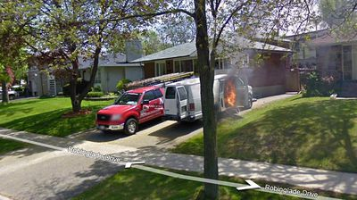 Google Street View drivers likely looked twice passing this flaming van in Ontario, Canada.