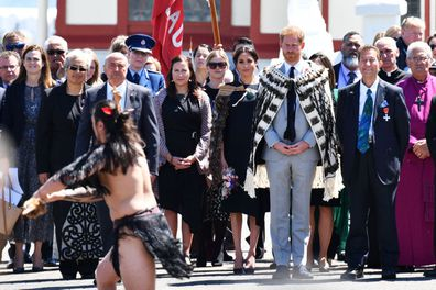 Meghan Duchess of Sussex and Prince Harry attend a powhiri and luncheon in their Highnesses' honour at the Te Papaiouru Marae in Rotorua, New Zealand.