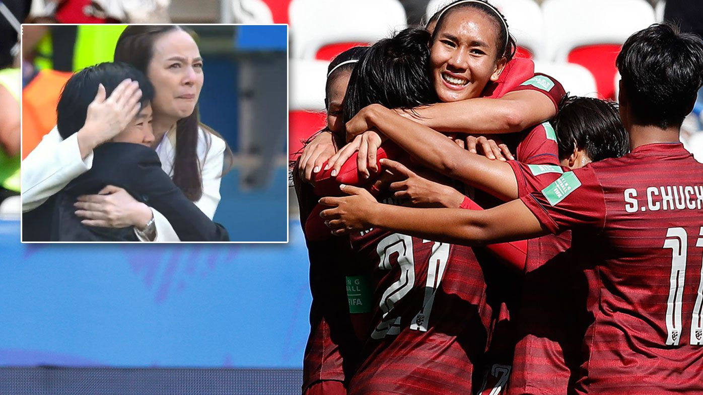 Emotional scenes after Thailand score first Women's World Cup goal