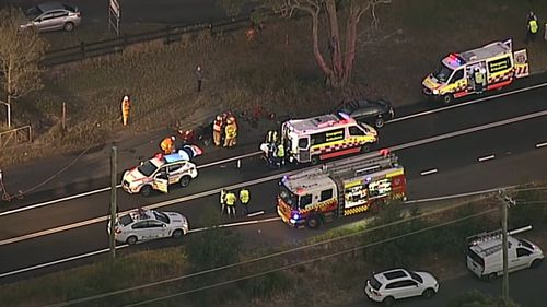 The young woman died at the scene and her father was taken to hospital in a critical condition. Picture: 9NEWS.