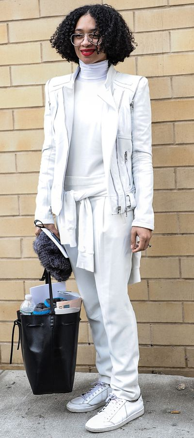 Instant chic: All white everything, as Celia Smith demonstrates here.