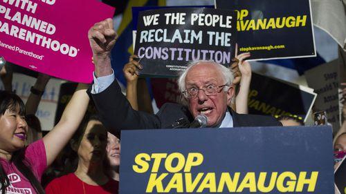 Senator Bernie Sanders speaks at a rally in Washington DC opposing Brett Kavanaugh. (AAP)