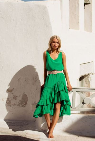 <p>Mister Zimi green silk Scarlett skirt, $270, and green silk Rosie cami, $110</p>