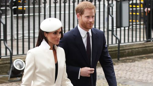 Meghan Markle and Prince Harry arrive at Westminster Abbey. (PA/AAP)