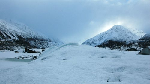 The Tasman glacier at the foot of Mount Cook in New Zealand. (AAP)