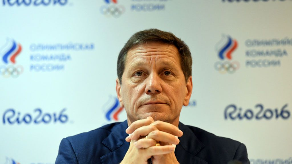 Russia's Olympic Committee (ROC) president Alexander Zhukov gives a press conference in the Russian fans house at the Copacabana beach. (AFP)