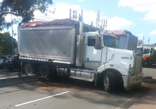 A jackknifed truck has caused traffic chaos in north Sydney today after it blocked multiple lanes on the Pacific Highway at Pymble. Picture: Supplied.