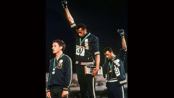 Peter Norman, Tommie Smith and John Carlos during the famous medal ceremony.