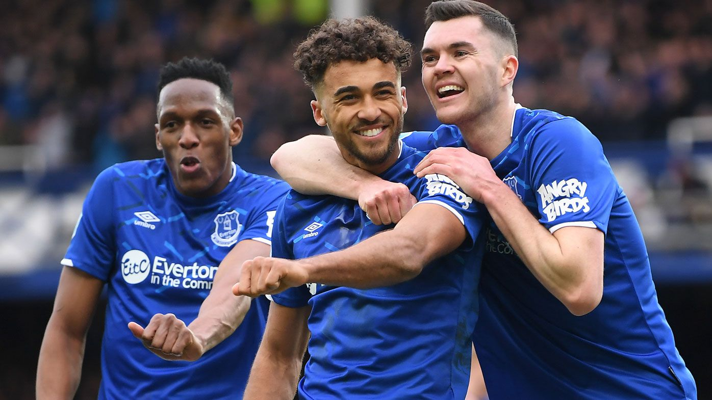 Dominic Calvert-Lewin of Everton celebrates with teammates after scoring his team's third goal