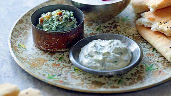 Borani-ye esfenaj (spinach, turmeric and golden raisin dip)