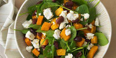 Roast pumpkin, feta & olive salad
