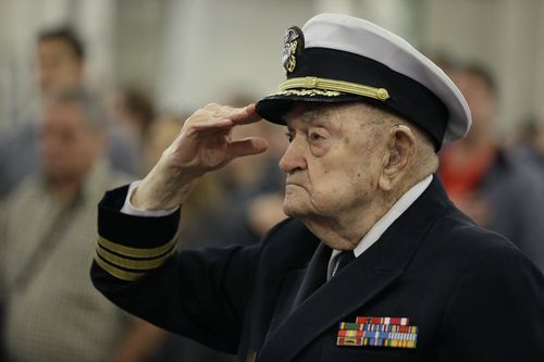 94-year-old retired Navy chaplain John Berger. The 100th anniversary of the end of World War One was commemorated in November.