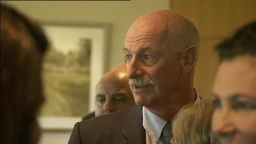 Bowling great Dennis Lillee at Richie Benaud's funeral. (9NEWS)