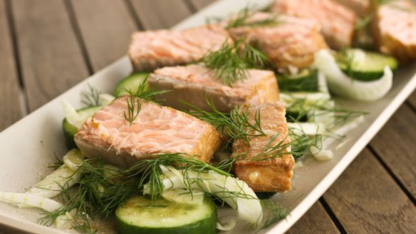 Lemon and ginger tea smoked salmon with a cucumber and fennel salad