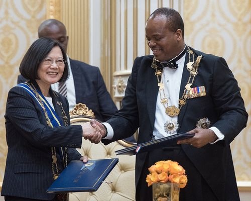 Taiwan's President Tsai Ing-wen attending Swaziland's independence celebration with King Mswati III. (AAP)