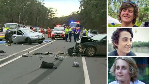 The crash site at Bilpin and victims Ben Sawyer, Luke Shanahan and Lachlan Burleigh.