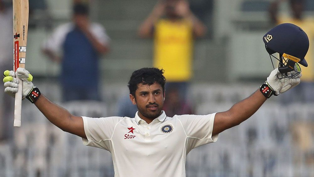 India batsman Karun Nair celebrates reaching 300 against England. (AAP)