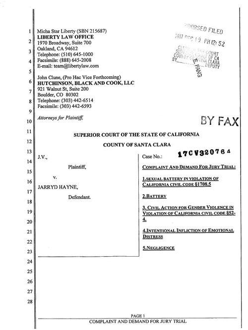 Page 1 of the civil suit document.
