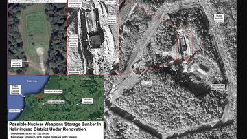 This satellite image from the Federation of American Scientists shows a buried nuclear weapons storage bunker in the Kaliningrad region.