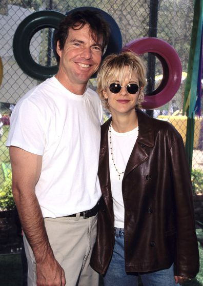 Dennis Quaid and Meg Ryan during '95 Pediatric Aids Foundation Annual Picnic in 1995 at Private Home in Los Angeles, California, United States.