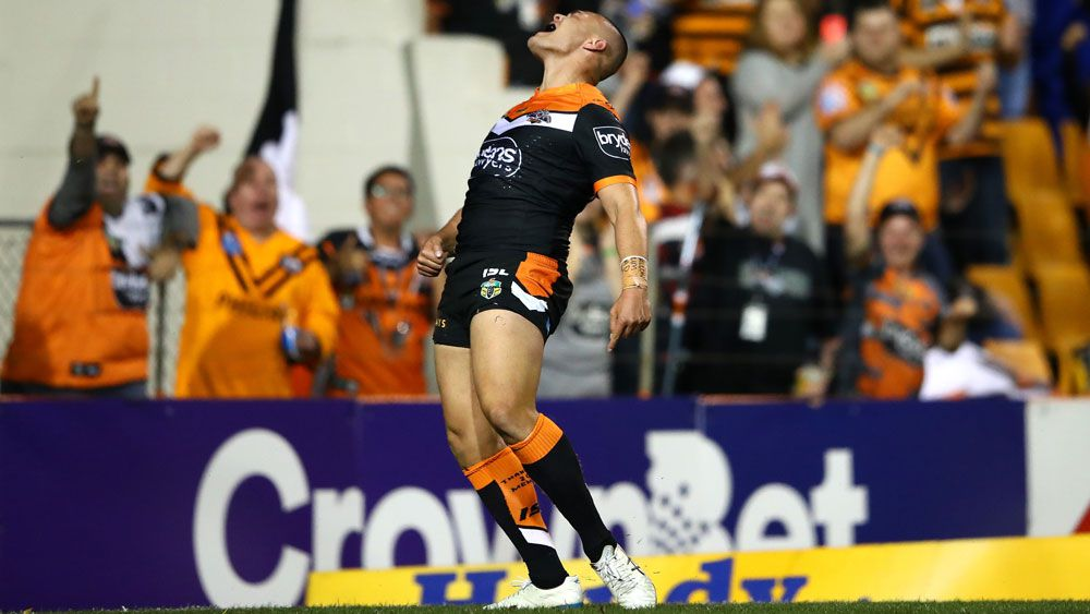 Wests Tigers beat Warriors in swansong for skipper Aaron Woods and fullback James Tedesco