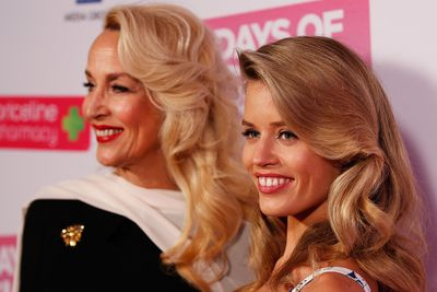 Jerry Hall and daughter Georgia May Jagger with Hollywood-wave hair