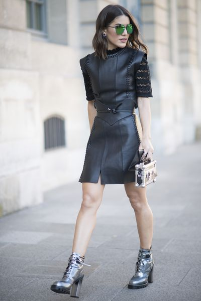 Camila Coelho seen in the streets during Paris Fashion Week.