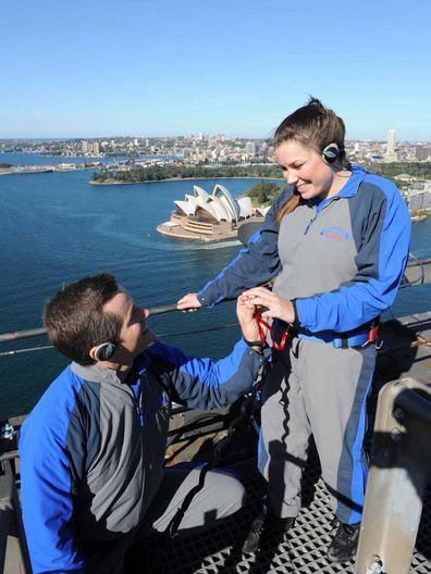 BridgeClimb Sydney -- climbers proposing on top of the Sydney Harbour Bridge