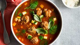Meatball zucchini and chickpea soup