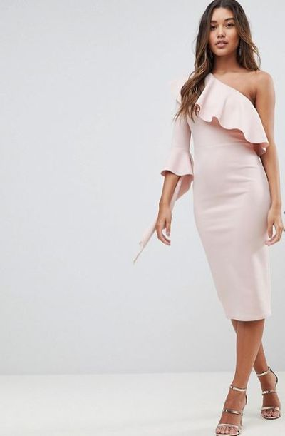 "<p>The Sweetest Thing</p> <p><a href=""http://www.asos.com/au/asos/asos-one-shoulder-ruffle-midi-dress-with-extreme-sleeve/prd/9212701?clr=mink&amp;SearchQuery=&amp;cid=8799&amp;gridcolumn=4&amp;gridrow=3&amp;gridsize=4&amp;pge=1&amp;pgesize=72&amp;totalstyles=4113"" target=""_blank"" draggable=""false"">ASOS One Shoulder Ruffle Midi Dress with Extreme Sleeve in Mink, $76</a></p>"