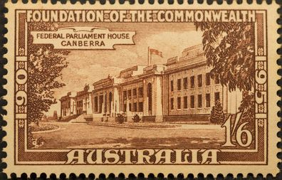 Australian postage stamp, unfranked. Foundation of Commonwealth of Australia 1901-1951. Parliament House, Canberra