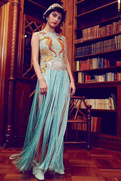 """<p>Mermaids matter</p> <p><a href=""""https://www.romancewasborn.com/collections/dresses/products/king-neptune-fringed-gown?variant=29040219344"""" target=""""_blank"""">Romance Was Born</a> fringed gown, $2900<br> </p>"""
