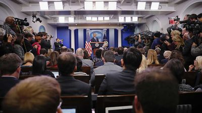 President Barack Obama gives his final media conference in the White House Press Briefing Room. The Obama Administration's relationship with the news media has been testy at times, but he is leaving the White House with high approval ratings. (AP)