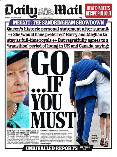 Daily Mail UK front pages Prince Harry Meghan Markle royal exit