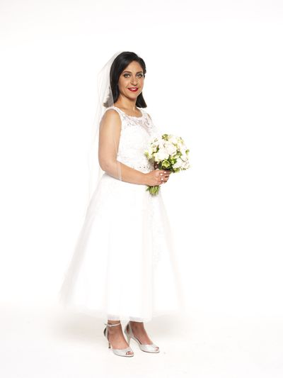 "Alene Khatcherian is set to find true love in this elegant 50's inspired gown with lace panel, nipped-in waist and full skirt. The dress style - <a href=""http://www.bridesinlove.com.au/"" target=""_blank"">Ella Rosa from Brides in Love.</a> Her country boy love (hopefully) Simon looks to be smitten with his new wife."