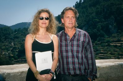 Michael Douglas and his wife Diandra Luker at Valldemossa on August 20, 1994 in Mallorca, Spain.