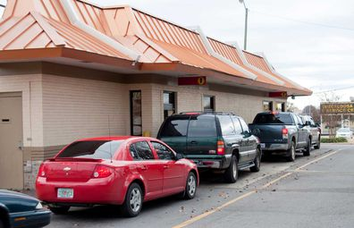 Fast food drive thru cars