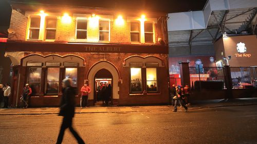 The altercation is believed to have occurred outside the Albert Pub, outside Anfield Stadium, before the match had started. Picture: AAP.