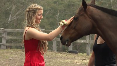 Georgie Gardner grants farm girl's formal dress wish