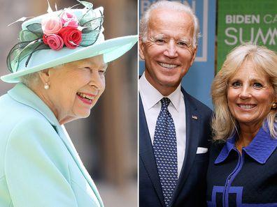 Queen Elizabeth II; Joe and Jill Biden