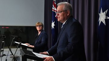 Minister for Defence Linda Reynolds and Prime Minister Scott Morrison annoucinng a cyber-attack on Australia.